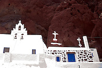 A church at the Red Beach near Akrotiri in Santorini, Greece on July 7, 2013.