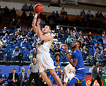 SIOUX FALLS, SD - NOVEMBER 28: Mike Daum #24 from South Dakota State University lays the ball up past Jamel Allen #13 from UMKC during their game Wednesday night at Frost Arena in Brookings, SD. (Photo by Dave Eggen/Inertia)