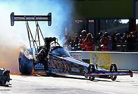 Sep 14, 2013; Charlotte, NC, USA; NHRA top fuel dragster driver Steve Torrence during qualifying for the Carolina Nationals at zMax Dragway. Mandatory Credit: Mark J. Rebilas-
