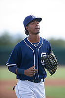 San Diego Padres outfielder Angel Santos (17) jogs off the field between innings during an Instructional League game against the Chicago White Sox on September 26, 2017 at Camelback Ranch in Glendale, Arizona. (Zachary Lucy/Four Seam Images)