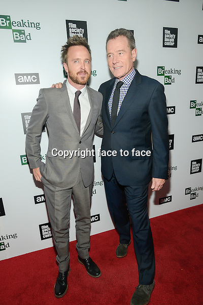 Bryan Cranston and Aaron Paul attend The Film Society Of Lincoln Center And AMC Celebration Of 'Breaking Bad' Final Episodes at The Film Society of Lincoln Center, Walter Reade Theatre in New York, 31.07.2013.<br /> Credit: MediaPunch/face to face<br /> - Germany, Austria, Switzerland, Eastern Europe, Australia, UK, USA, Taiwan, Singapore, China, Malaysia, Thailand, Sweden, Estonia, Latvia and Lithuania rights only -