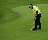 15.10.2014. The London Golf Club, Ash, England. The Volvo World Match Play Golf Championship.  Day 1 group stage matches.  Patrick Reed [USA] on the seventeenth.