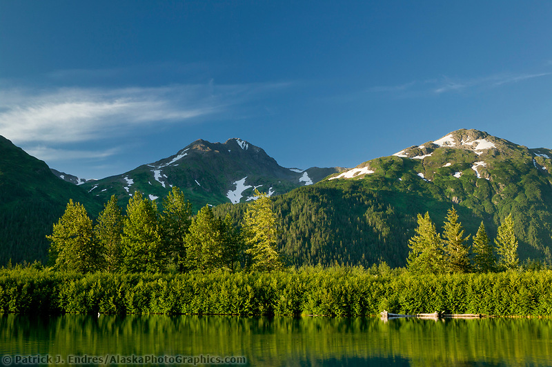 Summer landscape of a lake in the Portage Valley, Chugach Mountains, Alaska