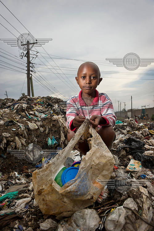 A portrait of a nine year old garbage collector in Nairobi.