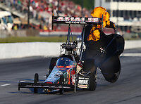 May 17, 2014; Commerce, GA, USA; NHRA top fuel dragster driver Terry McMillen during qualifying for the Southern Nationals at Atlanta Dragway. Mandatory Credit: Mark J. Rebilas-USA TODAY Sports