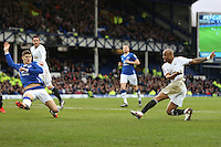 Andre Ayew scores his sides second goal during the Barclays Premier League match between Everton and Swansea City played at Goodison Park, Liverpool. 2-1
