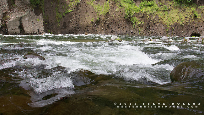 The Sandy River flows over boulders and along cliffs, Oregon.