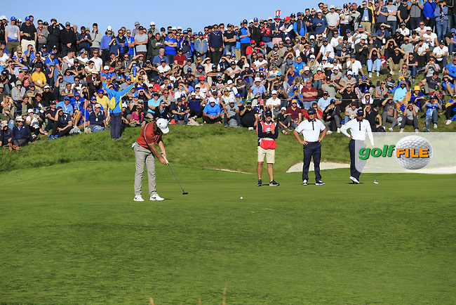 Tommy Fleetwood (Team Europe) putts on the 11th green during Saturday's Foursomes Matches at the 2018 Ryder Cup 2018, Le Golf National, Ile-de-France, France. 29/09/2018.<br /> Picture Eoin Clarke / Golffile.ie<br /> <br /> All photo usage must carry mandatory copyright credit (© Golffile | Eoin Clarke)