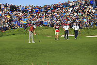 Tommy Fleetwood (Team Europe) putts on the 11th green during Saturday's Foursomes Matches at the 2018 Ryder Cup 2018, Le Golf National, Ile-de-France, France. 29/09/2018.<br /> Picture Eoin Clarke / Golffile.ie<br /> <br /> All photo usage must carry mandatory copyright credit (&copy; Golffile | Eoin Clarke)
