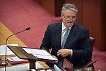 Senator Mathias Cormann, Leader of the Government in the Senate and Minister for Finance speaks during a debate in the Senate at Parliament House, Canberra, Australia, on Wednesday, July 4, 2019. Photographer: Mark Graham/Bloomberg