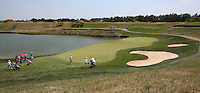 View of the 1st green during thePro-Am of the 2015 Alstom Open de France, played at Le Golf National, Saint-Quentin-En-Yvelines, Paris, France. /01/07/2015/. Picture: Golffile | David Lloyd<br /> <br /> All photos usage must carry mandatory copyright credit (&copy; Golffile | David Lloyd)