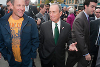 New York, NY -  30 October 2009- Lance Armstrong and Mike Bloomberg at the  Union Square Greenmarkettopromote healthy eating.