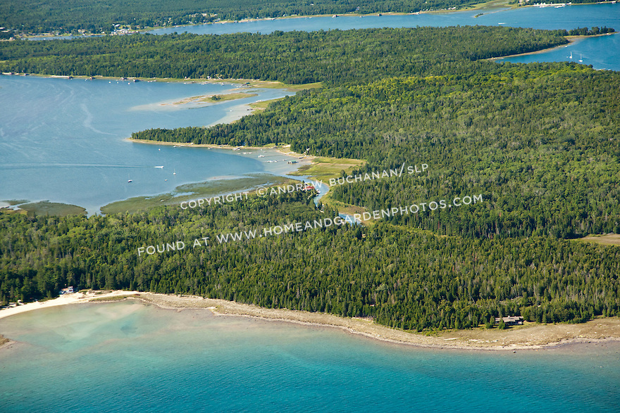 Little LaSalle Island and Sand Bay, Bosley's Channel, and Big LaSalle Island behind, Les Cheneaux Area of Lake Huron shoreline near Cedarville, MI
