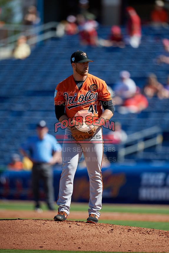 Baltimore Orioles relief pitcher David Hess (41) gets ready to deliver a pitch during a Grapefruit League Spring Training game against the Philadelphia Phillies on February 28, 2019 at Spectrum Field in Clearwater, Florida.  Orioles tied the Phillies 5-5.  (Mike Janes/Four Seam Images)