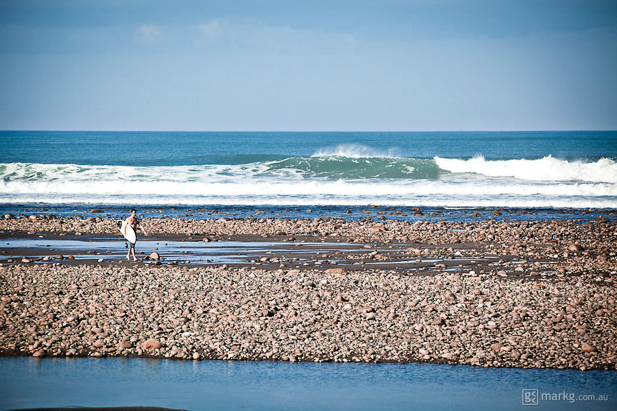 Low tide surf break at Balian.
