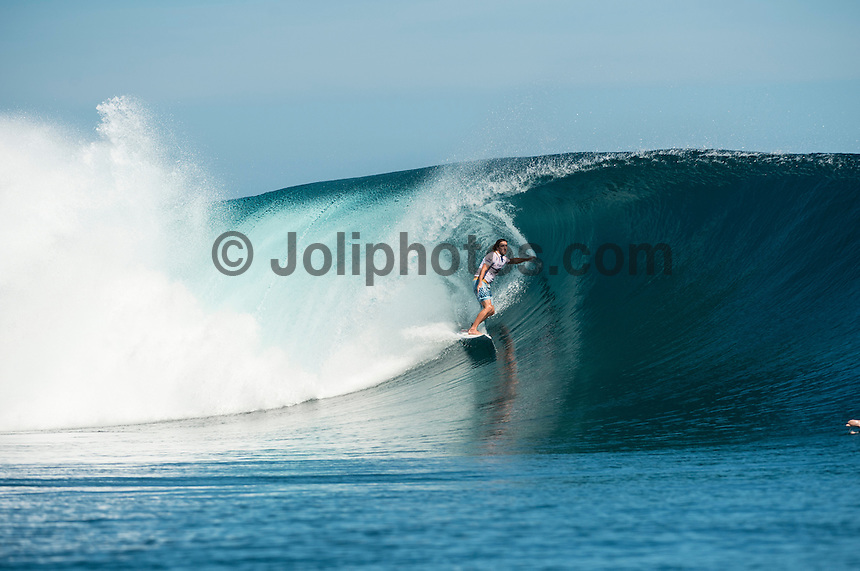 CLOUDBREAK, Namotu Island, Fiji (Tuesday, June 4, 2013) Matt Wilkinson (AUS). - Opening day of the Volcom Fiji Pro, stop No. 4 of 10 on the 2013 ASP World Championship Tour (WCT), kicked off in firing four-to-six foot (2 - 2.5 metre) barrels at Cloudbreak today, completing the opening 10 heats of the non-elimination Round 1. The first day of competition saw several upsets unfold, as a slew of top seeds went down to the underdogs.<br /> <br /> Mitch Coleborn (AUS), 26, returning Volcom Fiji Pro wildcard and winner of the recent ASP Prime event in Brazil, was deadly in the Cloudbreak lineup, earning the first perfect 10 point ride of competition. Coleborn locked into a flawless wave seconds after the start of his heat and drove through two heaving barrel sections to earn the score. The Sunshine-coaster would back up the ride with an excellent 9.33, taking the day's high heat total of 19.33 out of 20.<br /> <br /> ?I'm feeling in good rhythm and trying to keep momentum going after my win last week in Brazil,? Coleborn said. ?My first wave was a 10 and I don't know what to say, I'm stoked. Hopefully I can keep it going in Round 3.?<br /> <br /> Coleborn, who topped 11-time ASP World Champion Kelly Slater (USA), 41, in Round 1 at Cloudbreak last year, recreated the same magic today, besting ASP World No. 1 Adriano de Souza (BRA), 26, and Alejo Muniz (BRA), 23, to make his way to Round 3.<br /> <br /> Heitor Alves (BRA), 31, former ASP WCT competitor and last-minute alternate in the Volcom Fiji Pro, took advantage of both his entry in to the event and the absence of reigning ASP World Champion Joel Parkinson (AUS), 32, in his Round 1 heat. Alves drove through two deep lefthand barrels, notching a near-perfect 9.80 and 8.83 for his efforts to advance to Round 3 over fellow goofy-footer Matt Wilkinson (AUS), 24.<br /> <br /> Fred Patacchia (HAW), 31, marked his return to competition following a serious ankle injury with a convincing Round 1 win at the Volcom Fiji Pro. Patacchia's veteran experience at Cloudbreak was apparent, as he