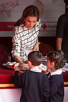 Queen Letizia of Spain attends the Cruz Roja´s (Red Cross) `Dia de la banderita´ donation table in front of Deputy Congress building in Madrid, Spain. October 08, 2014. (ALTERPHOTOS/Victor Blanco)