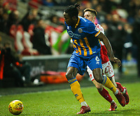 Shrewsbury Town's Omar Beckles holds off the challenge from Fleetwood Town's Ashley Hunter<br /> <br /> Photographer Alex Dodd/CameraSport<br /> <br /> The EFL Sky Bet League One - Fleetwood Town v Shrewsbury Town - Tuesday 13th February 2018 - Highbury Stadium - Fleetwood<br /> <br /> World Copyright &copy; 2018 CameraSport. All rights reserved. 43 Linden Ave. Countesthorpe. Leicester. England. LE8 5PG - Tel: +44 (0) 116 277 4147 - admin@camerasport.com - www.camerasport.com