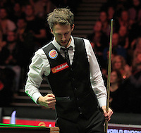 Judd Trump knows he has clinched the win during the Dafabet Masters Quarter Final 2 match between Judd Trump and Neil Robertson at Alexandra Palace, London, England on 15 January 2016. Photo by Liam Smith / PRiME Media Images.