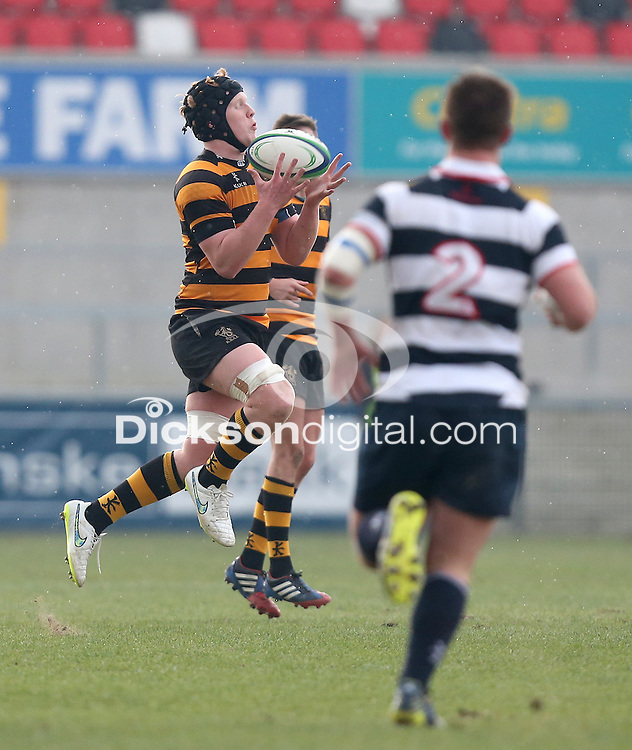 2015 ULSTER SCHOOLS CUP FINAL | Tuesday 17th March 2015<br /> <br /> Mark Mairs takes this high ball during the 2015 Ulster Schools Cup Final between RBAI and Wallace High School at the Kingspan Stadium, Ravenhill Park, Belfast, Count Down, Northern Ireland.<br /> <br /> Picture credit: John Dickson / DICKSONDIGITAL