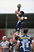 Bryn Evans of Sale Sharks wins the ball at a lineout. Aviva Premiership match, between Sale Sharks and Bath Rugby on May 6, 2017 at the AJ Bell Stadium in Manchester, England. Photo by: Patrick Khachfe / Onside Images