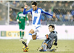 CD Leganes' Pablo Insua (l) and Celta de Vigo's Giuseppe Rossi during La Liga match. January 28,2017. (ALTERPHOTOS/Acero)