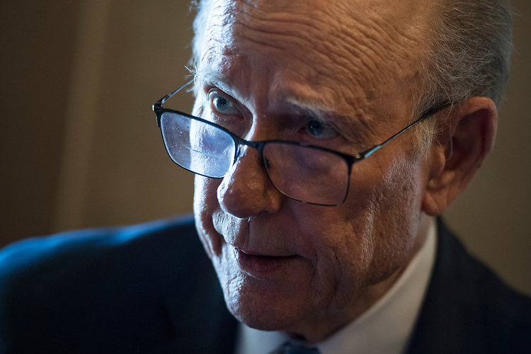 UNITED STATES - JULY 10: Sen. Pat Roberts, R-Kan., talks with a reporter after the Senate Policy luncheons in the Capitol on July 10, 2018. (Photo By Tom Williams/CQ Roll Call)