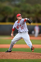 Ball State Cardinals pitcher David Current (32) during a game against the Dartmouth Big Green on March 7, 2015 at North Charlotte Regional Park in Port Charlotte, Florida.  Ball State defeated Dartmouth 7-4.  (Mike Janes/Four Seam Images)