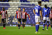 1st November 2017, St. Andrews Stadium, Birmingham, England; EFL Championship football, Birmingham City versus Brentford; Neal Maupay of Brentford celebrates scoring the second goal for Brentford to lead 2-0 in the 84th minute