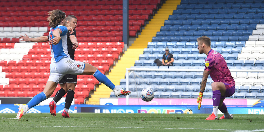 Blackburn Rovers' Sam Gallagher scores his team's first goal<br /> <br /> Photographer Dave Howarth/CameraSport<br /> <br /> The EFL Sky Bet Championship - Blackburn Rovers v Bristol City - Saturday 20th June 2020 - Ewood Park - Blackburn<br /> <br /> World Copyright © 2020 CameraSport. All rights reserved. 43 Linden Ave. Countesthorpe. Leicester. England. LE8 5PG - Tel: +44 (0) 116 277 4147 - admin@camerasport.com - www.camerasport.com