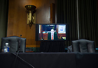 "United States Senator Ron Wyden (Democrat of Oregon) speaks by video conference during a United States Senate Finance Committee hearing on ""COVID-19 and Beyond: Oversight of the FDA's Foreign Drug Manufacturing Inspection Process"" at the US Capitol in Washington, DC on June 2, 2020.<br /> Credit: Andrew Caballero-Reynolds / Pool via CNP/AdMedia"
