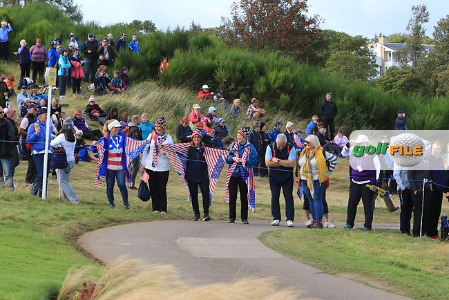 Support for Team USA on the 10th during Day 1 Fourball at the Solheim Cup 2019, Gleneagles Golf CLub, Auchterarder, Perthshire, Scotland. 13/09/2019.<br /> Picture Thos Caffrey / Golffile.ie<br /> <br /> All photo usage must carry mandatory copyright credit (© Golffile | Thos Caffrey)