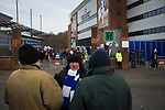 Blackburn Rovers 3 Shrewsbury Town 1, 14/01/2018. Ewood Park, League One. Fans gathering the outside the Blackburn End Stand before Blackburn Rovers played Shrewsbury Town in a Sky Bet League One fixture at Ewood Park. Both team were in the top three in the division at the start of the game. Blackburn won the match by 3 goals to 1, watched by a crowd of 13,579. Photo by Colin McPherson.