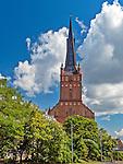 Szczecin, (woj. zachodniopomorskie), 15.07.2013. Zlokalizowana na Starym Mieście Bazylika archikatedralna świętego Jakuba.