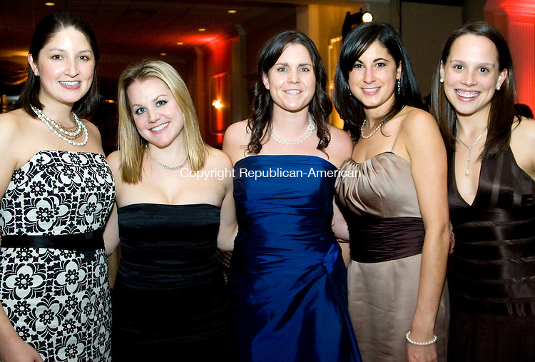 WATERBURY, CT - 22 NOVEMBER 2009 -112209JT13--<br /> From left, from Price Waterhouse Coopers, Katherine Toy, Jennifer Edic, Bridget Fitzgerald, Marcy Rebello and Alena Smalligan during the Waterbury Hospital Gala at the Villa Rosa in Waterbury on Saturday, Nov. 21.<br /> Josalee Thrift Republican-American