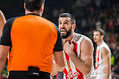 9th February 2018, Aleksandar Nikolic Hall, Belgrade, Serbia; Euroleague Basketball, Crvenz Zvezda mts Belgrade versus AX Armani Exchange Olimpia Milan; Guard Branko Lazic of Crvena Zvezda mts Belgrade reacts after the referees decision