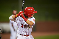 Greeneville Reds first baseman Rylan Thomas (37) at bat during a game against the Pulaski Yankees on July 27, 2018 at Pioneer Park in Tusculum, Tennessee.  Greeneville defeated Pulaski 3-2.  (Mike Janes/Four Seam Images)
