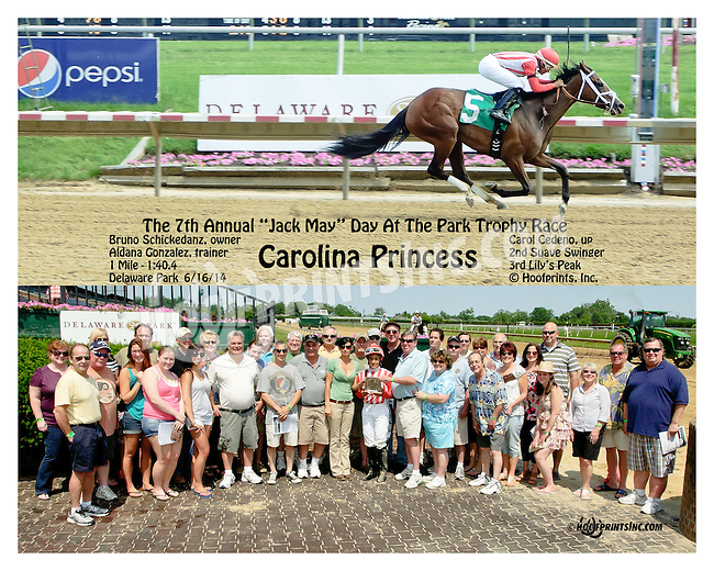 Carolina Princess winning at Delaware Park racetrack on 6/16/14