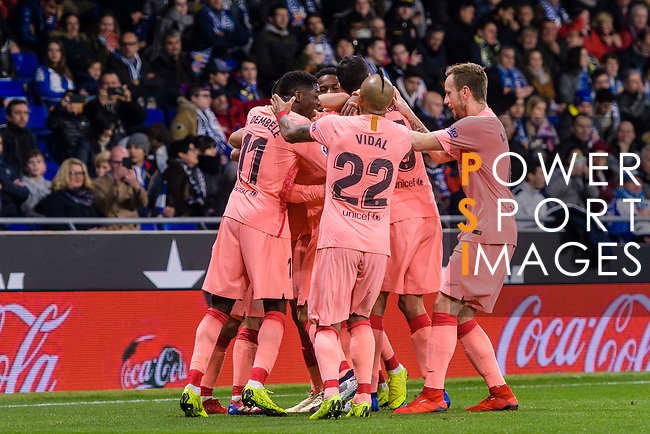 Lionel Messi of FC Barcelona (H) celebrates his goal with his teammates during the La Liga 2018-19 match between RDC Espanyol and FC Barcelona at Camp Nou on 08 December 2018 in Barcelona, Spain. Photo by Vicens Gimenez / Power Sport Images
