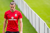 Gareth Bale appears concerned during the Wales open Training session ahead of the opening FIFA World Cup 2018 Qualification match against Moldova at The Vale Resort, Cardiff, Wales on 31 August 2016. Photo by Mark  Hawkins / PRiME Media Images.