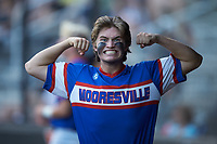 Mooresville Post 66 catcher Cole Robbins (18) flexes for the camera during an American Legion baseball game against Kannapolis Post 115 at Northwest Cabarrus High School on May 30, 2019 in Concord, North Carolina. Mooresville Post 66 defeated Kannapolis Post 115 4-3. (Brian Westerholt/Four Seam Images)