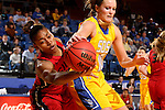 BROOKINGS, SD - NOVEMBER 12:  Kerri Young #10 from South Dakota State University tries to control the ball as Gwen Adams #44 from Southern Illinois Edwardsville attempts the steal at Frost Arena November 13, 2016 in Brookings, South Dakota. (Photo by Dave Eggen/Inertia)