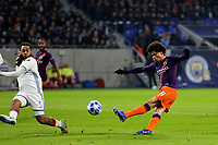 Leroy Sane of Manchester City takes a shot at the Lyon goal during Lyon vs Manchester City, UEFA Champions League Football at Groupama Stadium on 27th November 2018