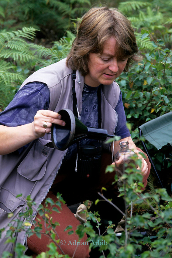 Biologist Helen Kirk measuring rainfall on Hatfield moor's nature reserve.    Scotts continue to drain Thorne Moors and  extract peat from  this fragile ecosystem despite massive protest locally and nationally.