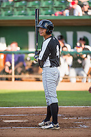 Jensen Park (4) of the Grand Junction Rockies at bat against the Ogden Raptors in Pioneer League action at Lindquist Field on July 6, 2015 in Ogden, Utah. Ogden defeated Grand Junction 8-7. (Stephen Smith/Four Seam Images)