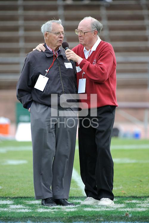 SAN FRANCISCO, CA - APRIL 17:  John Ralston and Bob Murphy of the Stanford Cardinal during spring game on April 17, 2010 at Kezar Stadium in San Francisco, California.