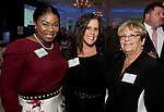 SOUTHINGTON, CT-092618JS22--Cheryl Wallace, Jami Dohoney and Joyce Petrisko, all of Webster Bank, at the Waterbury Regional Chamber's 24th Annual Malcolm Baldrige Chamber Awards ceremony held at the Aqua Turf in Southington. <br /> Jim Shannon Republican American