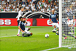 15.08.2012, Commerzbank Arena, Frankfurt, Freundschaftsspiel, Deutschland vs Argentinien, im Bild Mesut Oezil (8, Deutschland) schiesst an Pablo Zabaleta (4, Argentinien) vorbei auf das Tor<br /> <br /> // during the friendly Match, Deutschland vs Argentinien, Commerzbank Arena, Frankfurt, Germany, on 2012/08/15<br /> Foto © nph / Sielski *** Local Caption ***