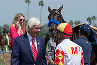 ARCADIA, CA  APRIL 7:  A smiling Mike Smith, weighs out after winning the Echo Eddie Stakes on April 7, 2018 at Santa Anita Park Arcadia, CA. (Photo by Casey Phillips/ Eclipse Sportswire/ Getty Images)
