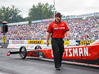 Sep 15, 2018; Mohnton, PA, USA; Crew member for NHRA top fuel driver Richie Crampton during qualifying for the Dodge Nationals at Maple Grove Raceway. Mandatory Credit: Mark J. Rebilas-USA TODAY Sports